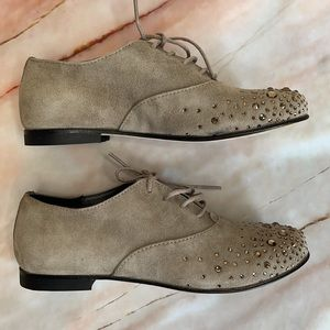 GALLUCCI | Lace up bejewelled suede brogues